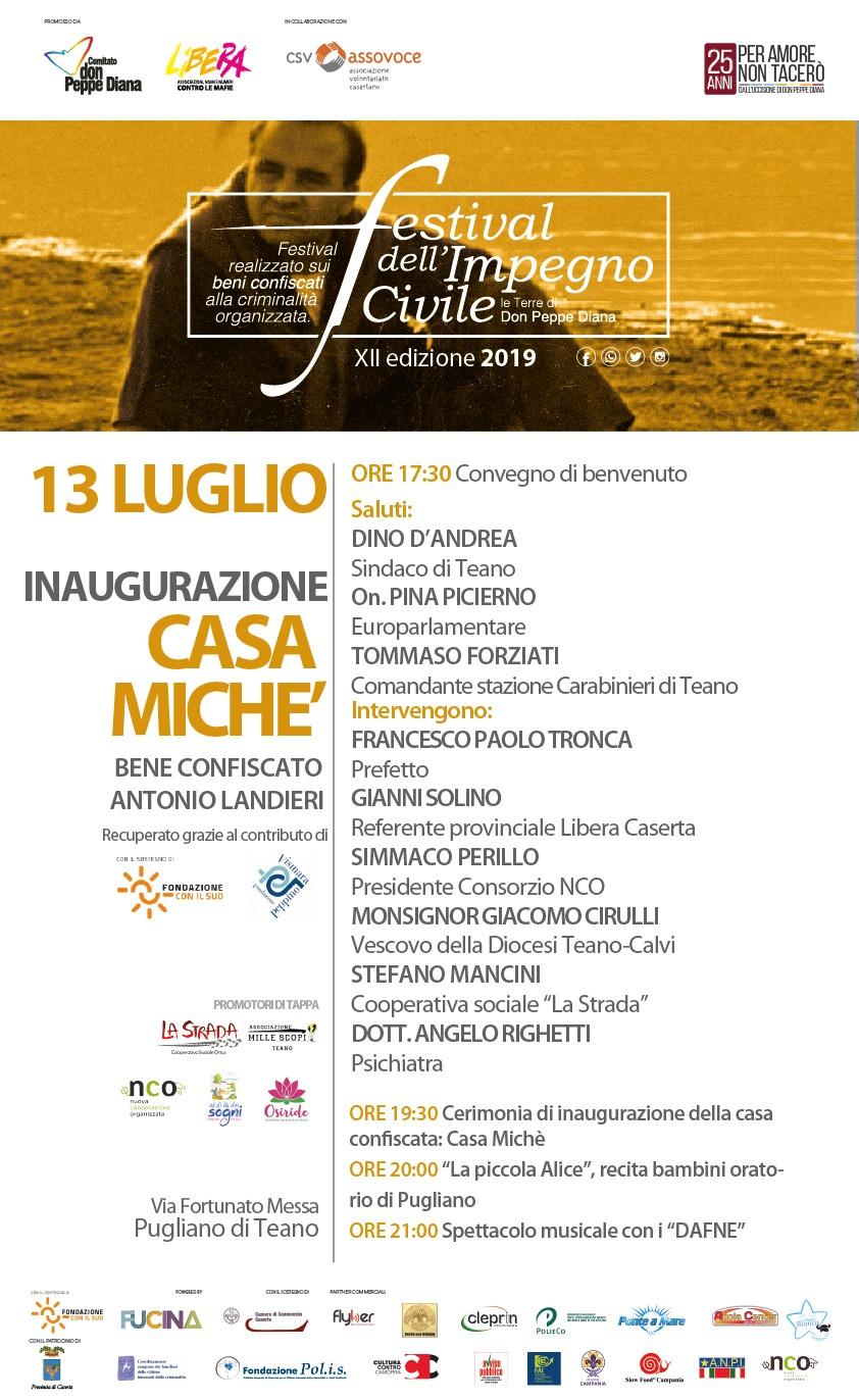 Inaugurazione Casa Michè, bene confiscato Antonio Landieri - 13 luglio - via Fortunato Messa Pugliano di Teano